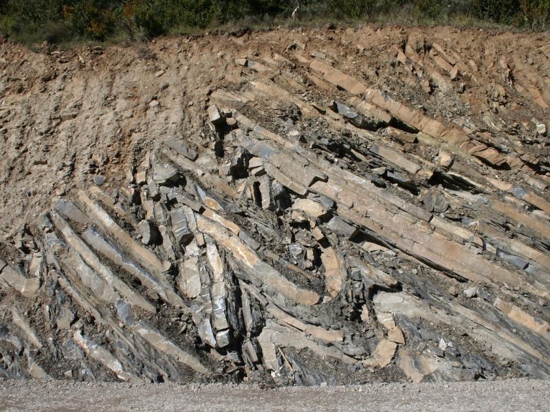 """Talud al pie de un camino que nos muestra un conjunto de pliegues apretados en materiales carbonatados, como si estuvieran representados en un corte geológico. Los taludes son cortes geológicos """"al natural"""". Cuenca de Jaca, Pirineo Oscense. Imagen: Javier Elez."""