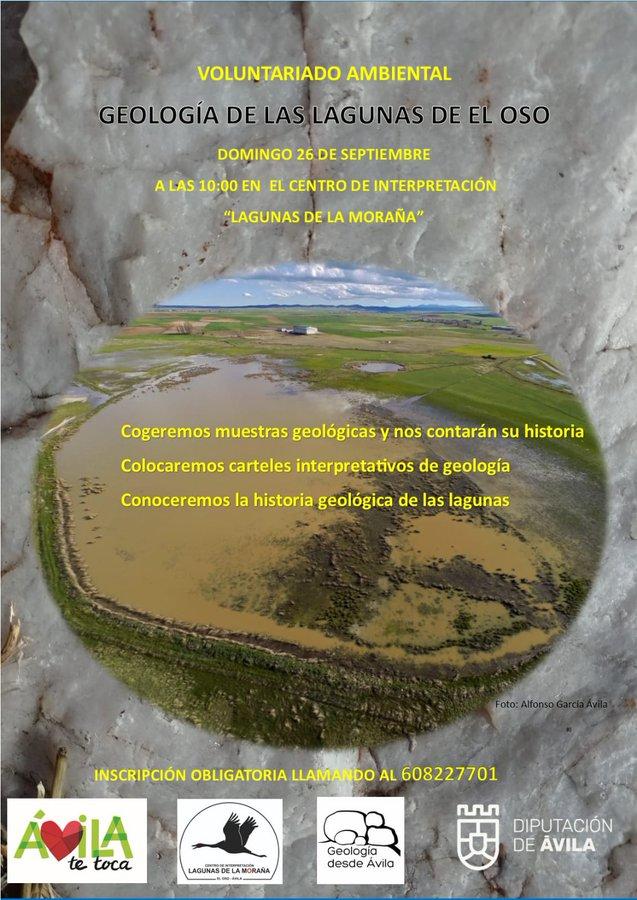 Cartel de la Jornada de Voluntariado Ambiental en El Oso, Ávila. Será el próximo domingo 26 de septiembre a las 10 h. en el Centro de Interpretación Lagunas de La Moraña.