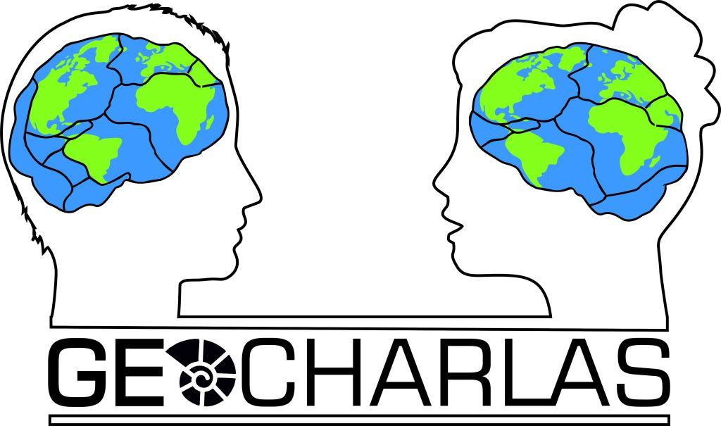 """Logo de la iniciativa de divulgación """"Geocharlas""""."""